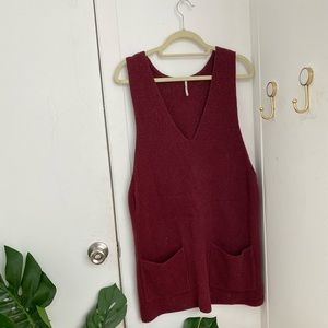 Burgundy Free People Sweater Dress